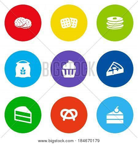 Set Of 9 Oven Icons Set.Collection Of Wafer, Pepperoni, Shortcake And Other Elements.
