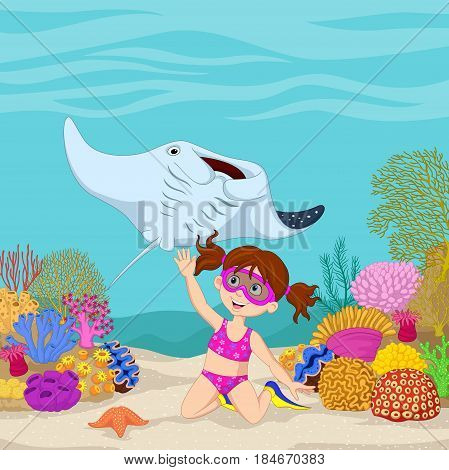 Vector illustration of Cartoon little girl diving in underwater tropical sea