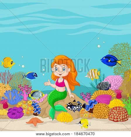 Vector illustration of Cute mermaid presenting in the underwater background
