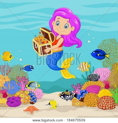 Vector illustration of Cute mermaid holding treasure chest in underwater background