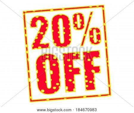 20% OFF RED-YELLOW Stamp Text on white backgroud