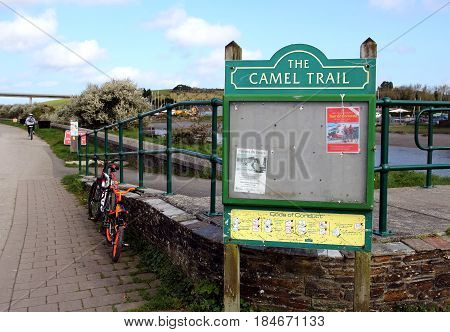 Wadebridge, Cornwall, Uk - April 6 2017: Noticeboard Showing The Camel Trail, On The Way From Wadebr