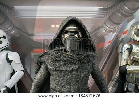 HONG KONG - CIRCA DECEMBER, 2015: Kylo Ren life-sized movie character displayed at exhibition on second floor in Times Square