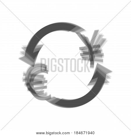 Currency exchange sign. Euro and Japan Yen. Vector. Gray icon shaked at white background.