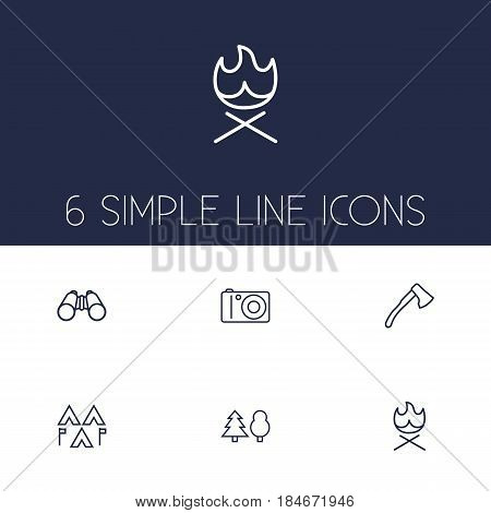 Set Of 6 Adventure Outline Icons Set.Collection Of Binoculars, Encampment, Forest And Other Elements.