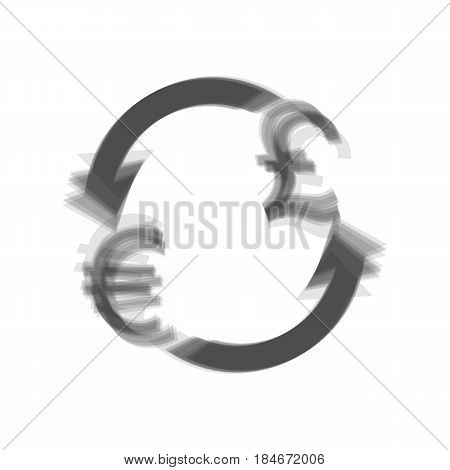 Currency exchange sign. Euro and UK Pound. Vector. Gray icon shaked at white background.