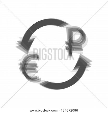 Currency exchange sign. Euro and Russia Ruble. Vector. Gray icon shaked at white background.