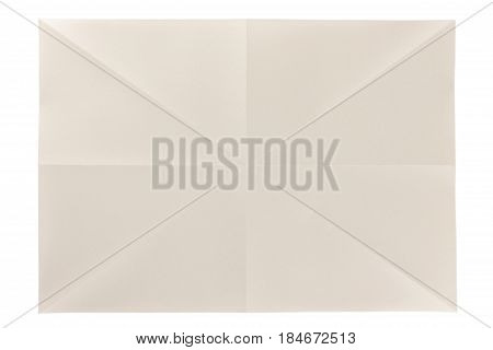 diagonal folded pattern of eye care page on white paper background, eye care paper is naturally color base paper for comfortable reading.