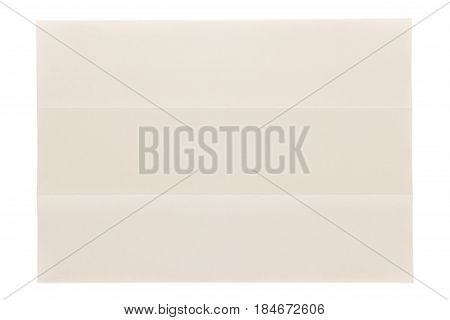 three parts folded of plain page by short side isolated on white background, eye care paper is naturally color base paper for comfortable reading.