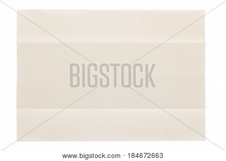 four parts folded of plain page by short side isolated on white background, eye care paper is naturally color base paper for comfortable reading.