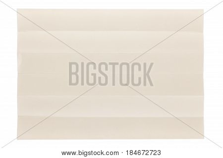 six parts folded of plain page by short side isolated on white background, eye care paper is naturally color base paper for comfortable reading.