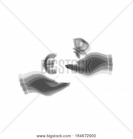 Currency exchange from hand to hand. Euro and Ruble. Vector. Gray icon shaked at white background.