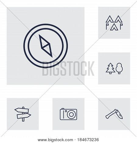 Set Of 6 Adventure Outline Icons Set.Collection Of Encampment, Penknife, Compass And Other Elements.
