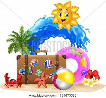 Vector illustration of Summer vacation background on white background