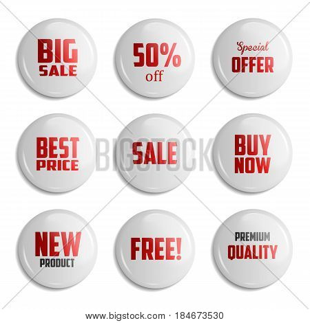 White Set of glossy sale buttons or badges. Product promotions. Big sale special offer 50 off. Vector illustration