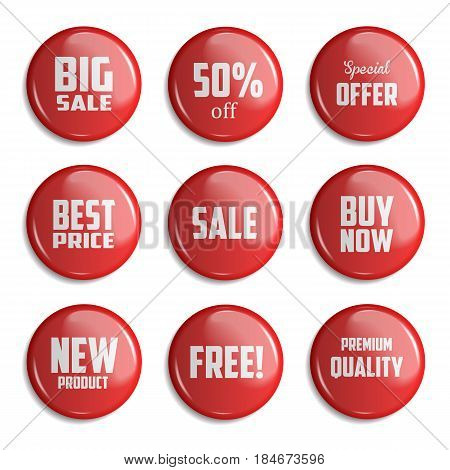 Red Set of glossy sale buttons or badges. Product promotions. Big sale special offer 50 off. Vector illustration