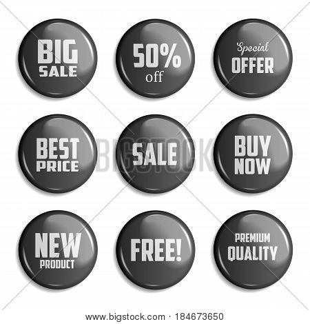 Black Set of glossy sale buttons or badges. Product promotions. Big sale special offer 50 off. Vector illustration