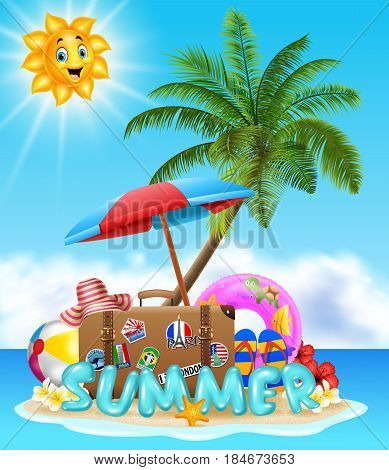 Vector illustration of Summer vacation background on beach
