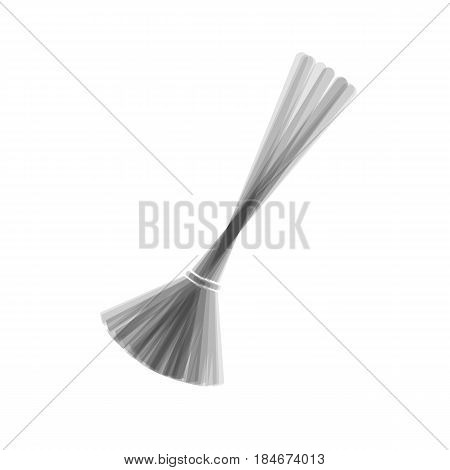 Sweeping broom sign. Vector. Gray icon shaked at white background.
