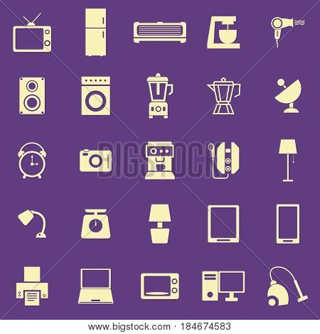 Household color icons on purple background, stock vector
