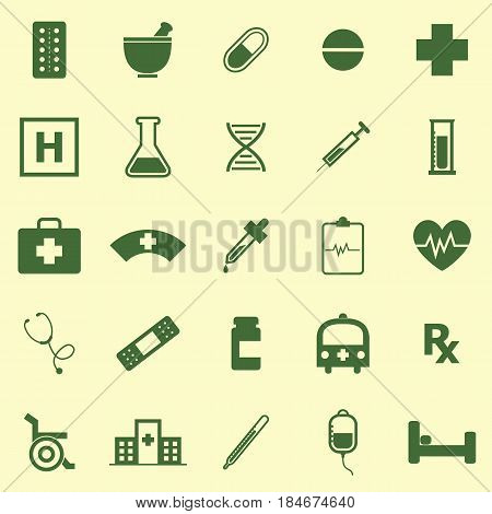 Pharmacy color icons on yellow background, stock vector