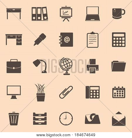 Workspace color icons on brown background, stock vector