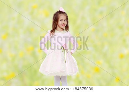 Dressy little girl long blonde hair, beautiful pink dress and a rose in her hair.She put hands on hips.Summer white green blurred background.