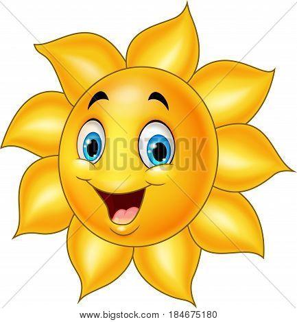 Vector illustration of Cartoon sun isolated on white background