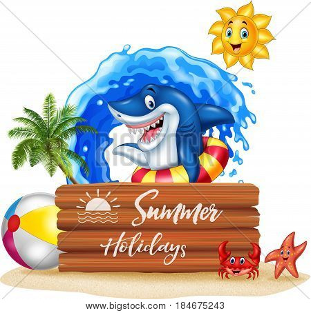 Vector illustration of Summer background with shark and wooden sign