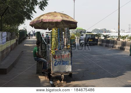 DELHI INDIA - MAR 18 : cold water and paan cart stall near new delhi railway station in delhi on march 18 2014 india