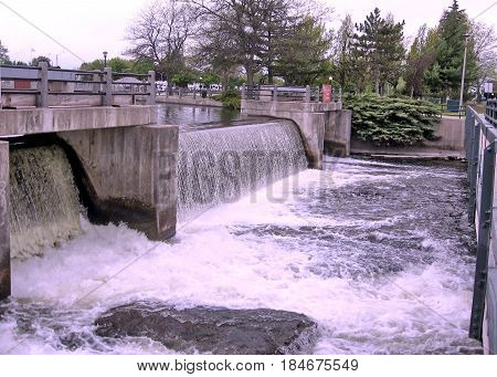 Water discharge from the dam on the Rideau Canal in Smiths Falls Canada May 18 2008