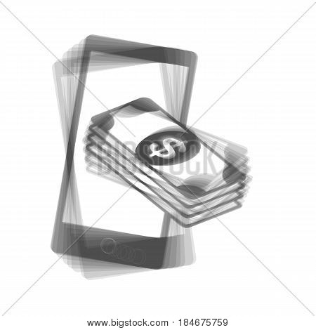 Payment, refill your mobile smart phone, . Vector. Gray icon shaked at white background.