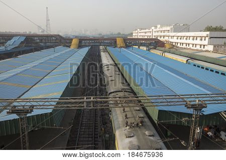 view of platform 3 of new delhi railway station this station is large station of delhi India.