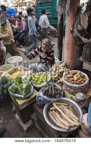 DELHI INDIA - DEC 10 : local vegetable stall in spice market. this market is biggest herb and spice wholesale in old delhi of Delhi on december 10 2014 india