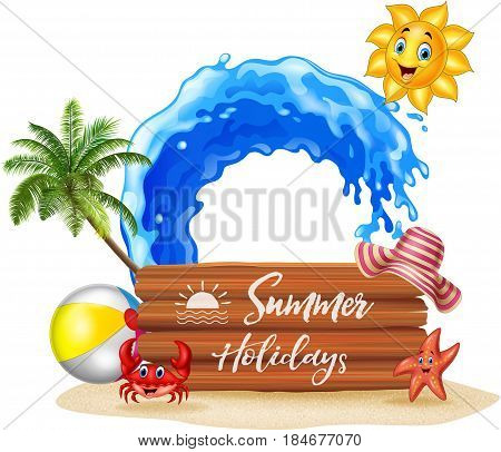 Vector illustration of Summer background with wooden sign