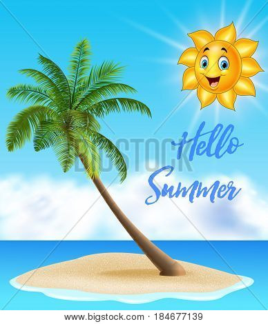 Vector illustration of Summer background with tropical island and cartoon sun