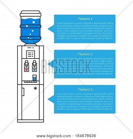 Drinking water dispenser vector illustration. List of potable water dispenser advantages graphic design.