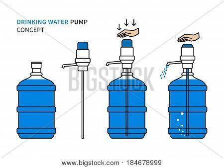 Drinking water pump vector illustration. Potable water pump with large bottle flask line art design.