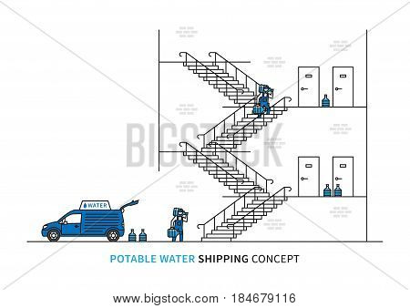 Potable water shipping vector illustration. Workers carry drinking water bottles to customer apartments. Water delivery graphic design