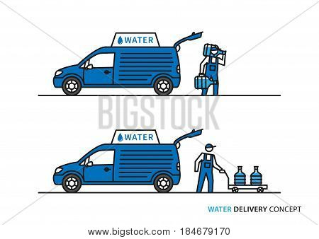 Water delivery vector illustration. Workers with potable water bottles and car graphic design.