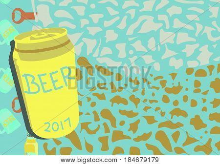 An Illustration about Beer can with beer bobble and beer pattern as a background.
