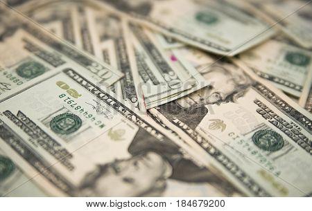 Twenty American Dollars Bills On A Table