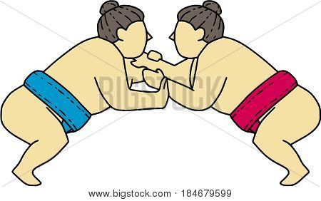 Mono line style illustration of a Japanese rikishi or wrestler engaging in a match bout of Sumo or sumo wrestling competitive full-contact wrestling sport viewed from the side set on isolated white background