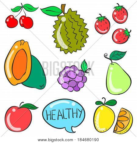 Collection stock of fruit doodle style illustration