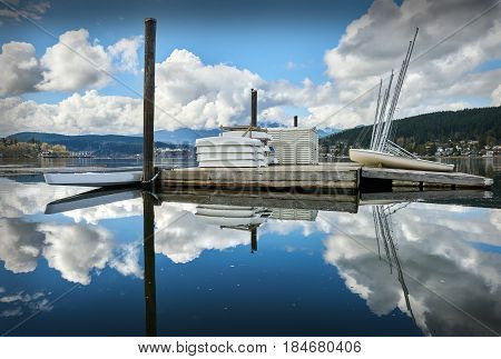 Rocky Point Park, Port Moody. Sailboats on a wharf in Rocky Point Park, Port Moody, British Columbia.