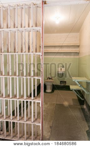 San Francisco, California, United States - April 30, 2017: Prisoner's cell of Alcatraz prison in Alcatraz Island