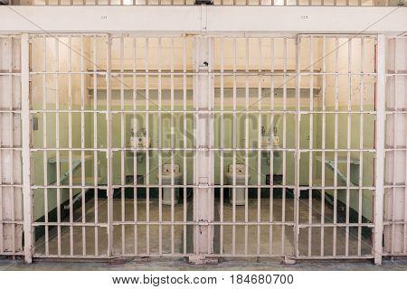 San Francisco, California, United States - April 30, 2017: Adjucent cells of Alcatraz Prison in Alcatraz Island