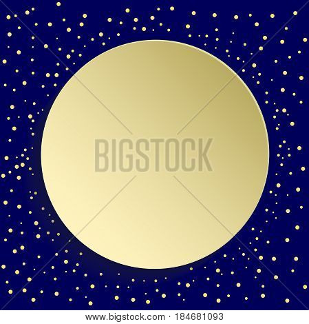 Nice golden round shape with dots and volume circle. Fine greeting card