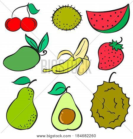 Collection stock of fruit various doodles style vector illustration