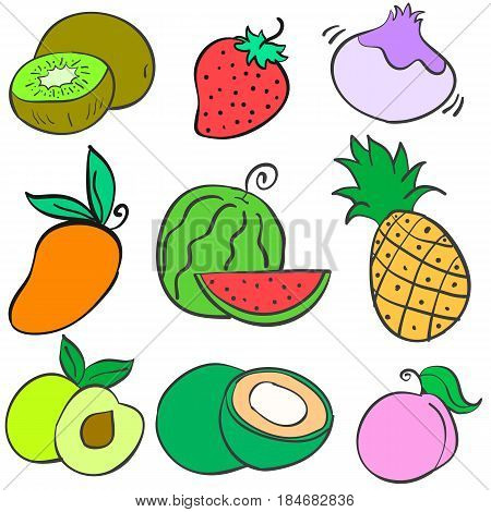 Collection stock fruit various doodles vector illustration